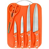 Premium Quality K16005A Cookstyle 5Piece Stainless Steel Kitchen Knife Set With Handy Chopping Board (Orange)