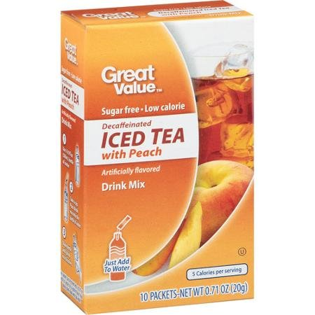 Great Value Sugar Free, Low Calorie Decaffeinated Iced Tea With Peach Drink Mix (Pack Of 6)