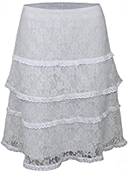 Attuendo Women's Bianca Layered Guipure Lace Skirt (Small)