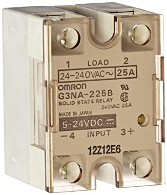 Omron G3NA-225B DC5-24 Solid State Relay, Zero Cross Function, Yellow Indicator, Phototriac Coupler Isolation, 25 A Rated Load Current, 24 to 240 VAC Rated Load Voltage, 5 to 24 VDC Input Voltage