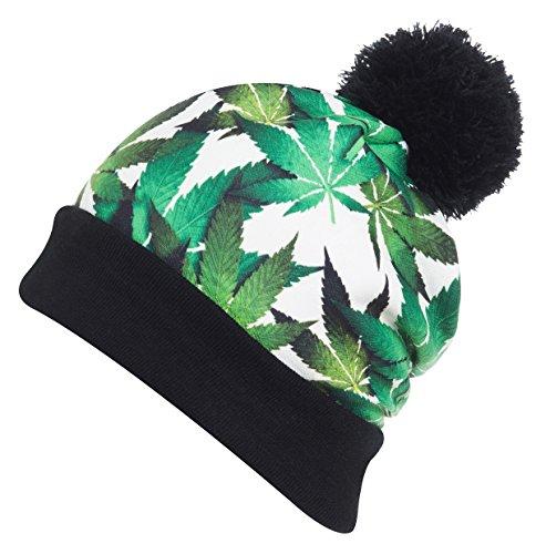 URBAN-K-Multi-Color-Marijuana-Leaf-Print-Pom-Pom-Beanie-hat-UBKEINWHITE-One-Size