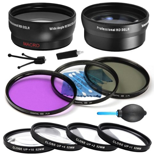 Professional 52Mm 0.43X Af Wide Angle Lens + 52Mm 4.7X Xtreme High Definition Af Telephoto Lens + 52Mm Multi Coated Hd 3Pc Digital Lens Filters Set + 52Mm High Quality 4Pc Hd Macro Close Up Filter Set +1 +2 +4 +10 For Nikon Nikkor 35Mm F/1.4 - Everything