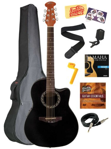 Applause By Ovation Ab24-5 Roundback Cutaway Balladeer Acoustic-Electric Guitar Bundle With Gig Bag, Instrument Cable, Strings, Strap, Tuner, Stringwinder, Instructional Dvd, Picks, And Polishing Cloth - Black
