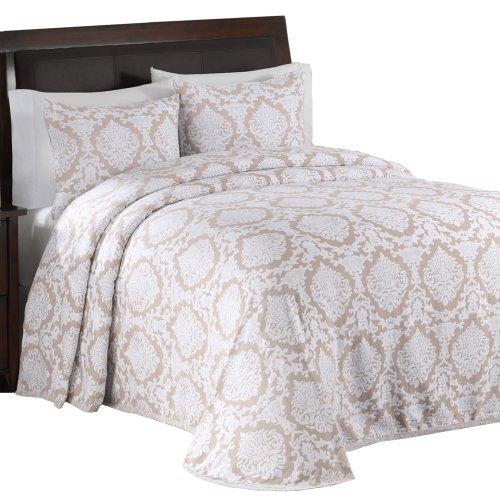 Lamont Home Nadine Reversible Matelasse Twin Bedspread, Silver Mink front-435410