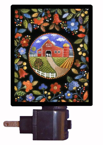 Country and Folk Style Night Light - Quilted Farm - LED NIGHT LIGHT