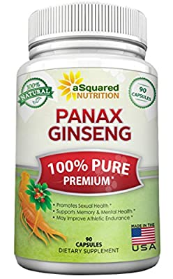 Pure Red Korean Panax Ginseng (1000mg Max Strength) 90 Capsules Root Extract Complex, High Potency Ginsenosides in Seeds, Asian Powder Supplement, Tablet Pills for Sex & Mental Health for Men & Women