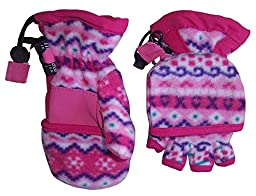 N\'Ice Caps Big And Little Kids Thinsulate Lined Converter Fingerless Glove To Mitten (4-6yrs, fuchsia print)