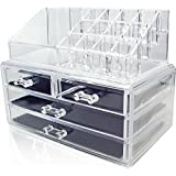 LIFECART Acrylic Multi-Purpose Storage Container Jewelry & Cosmetic Boxes (Two Pieces Set)