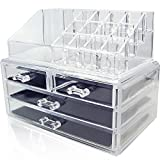 Unique Home Acrylic Jewelry & Cosmetic Storage Makeup Organizer, Clear, Medium, 2 Piece