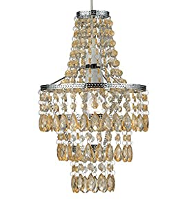Polished Chrome / Champagne Waterfull Cascade Droplet Ceiling Light Shade