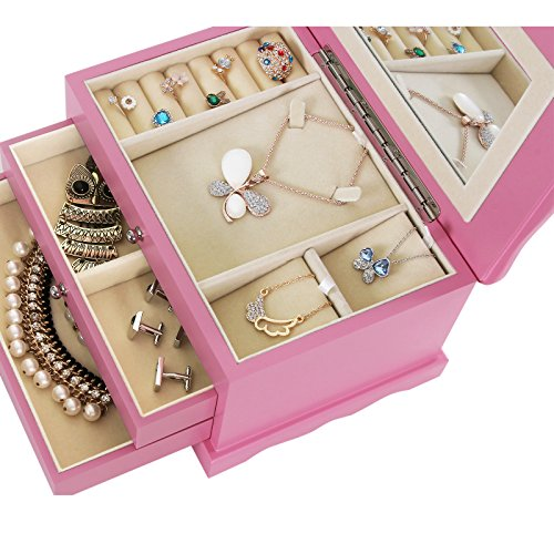 Songmics black wooden jewelry box storage case organizer w for Girls large jewelry box