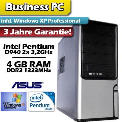 PC Business Pentium D940 WinXP - Intel Pentium D 940 2x 3,2GHz - 4GB DDR3 RAM - 300GB Festplatte - 5.1 HD Sound - 10/100 LAN - 420W Netzteil - 22x DVD±RW - 2x Front USB - inkl. Windows XP Professional SP3