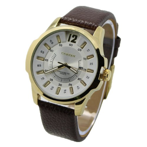 Curren 8123 Modern Business Men Watch With Big Round Leather Band(Brown And White)