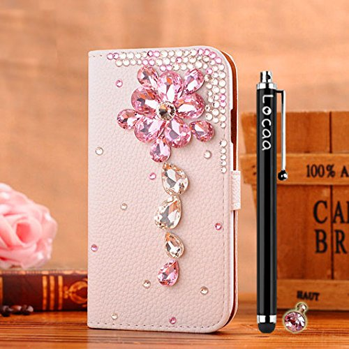 Locaa(Tm) Apple Iphone 4 4S 4G 3D Bling Cases Luxury Crystal Pearl Diamond Rhinestone Eyecatching Beautiful Leather Retro Support Bumper Cover Card Holder Wallet Case - [General Series] Pink Crystal Flower