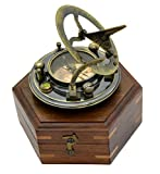Antik Sonnenuhr Kompass Replica 3in Hartholz in Box-massiv Messing Pocket