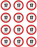 PRE-CUT HAPPY 17TH BIRTHDAY SIGN EDIBLE RICE / WAFER PAPER CUP CAKE TOPPERS PARTY DECORATION