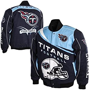 Tennessee Titans Kick Off Twill Jacket - Navy Blue Light Blue by My Sports Shop