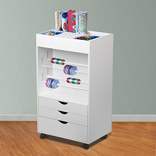 Wood Wrapping Paper Organizer With 3 Drawers