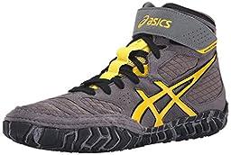 ASICS Men\'s Aggressor 2 Wrestling Shoe, Graphite/Sunflower/Black, 10.5 M US