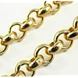 """Belcher Chain Necklace 18k Gold Doublé, 5,6mm/0.22"""", Length Choosable, Directly From The Italian Factory"""