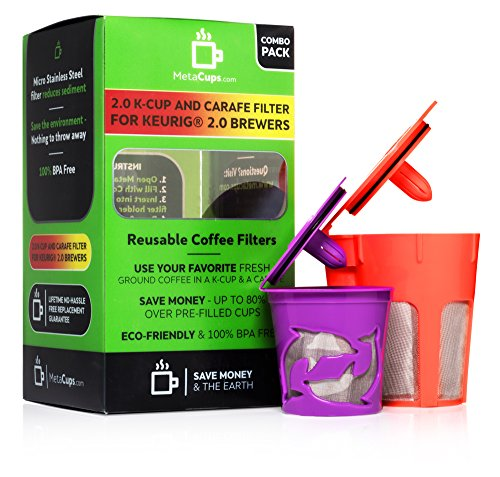 MetaCups Reusable K Carafe and 2.0 K Cup Refillable Coffee Filters Combo Gift Set for Keurig 2.0 Brewers K200, K300, K400, K500. Free Keurig Coffee Recipes Guide Plus.