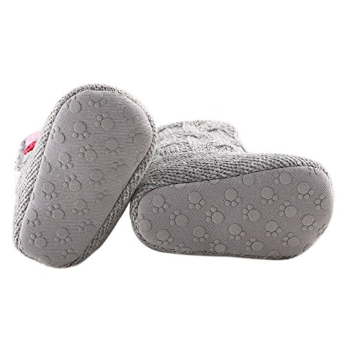 LIVEBOX Baby Cotton Knit Premium Soft Sole Anti-Slip Mid Calf Warm Winter Infant Prewalker Toddler Boots (S: 0~6 months)