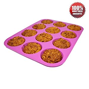 #1 PREMIUM Silicone Muffin Pan 12 cup Mister Cook - Lifetime Guarantee - Non-Stick, Easy... by Mister Cook