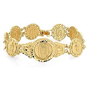 Mens Gold Plated Catholic Virgin Mary Lady of Guadalupe Bracelet