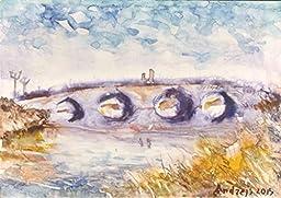 1 0 x 7, Bridge landscape, watercolor original by Andrejs Bovtovics.