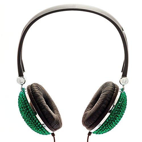 Emerald Green Crystal Rhinestone Bling Dj Over-Ear Headphones