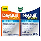 Vicks NyQuil Severe Cold and Flu and DayQuil Severe Cold and Flu Caplets Convenience Pack, 48 Count