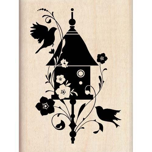 BIRDHOUSE FLOURISH Mounted Rubber Stamp InkaDinkaDo - 1
