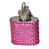 Bling 1-Ounce Hip Flask with Rhinestones, Mini, Pink