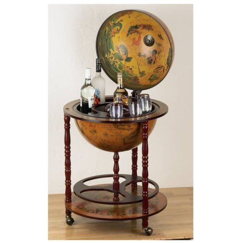 Unique Italian-style, Old World Toscano, 17' Inch Nautical Globe Bar