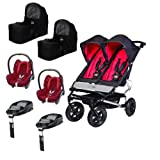 Mountain buggy Duet twin travel system bundle with Family fix bases