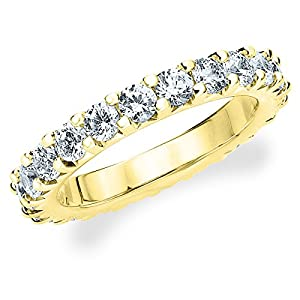 14K Yellow Gold Diamond Knife Edge Eternity Band (2.0 cttw, G-H Color, SI1-SI2 Clarity) Size 12
