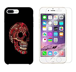 Snoogg Red Skull Combo Designer Protective Back & Shatter Proof Tempered Glass For APPLE IPHONE 7