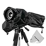 Altura Photo Professional Rain Cover Camera Protector for Large DSLR Cameras (CANON REBEL EOS T5i T4i T3i T3 T2i T1i SL1 XT XTi 70D 60D 7D 6D 5D Mark III - NIKON D7100 D7000 D5300 D5200 D5100 D5000 D3300 D3200 D3100 D3000 D90 D80) + MagicFiber Microfiber Lens Cleaning Cloth