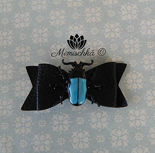 pince-a-cheveux-gothique-noeud-noir-et-scarabee-clip-hair-black-bow-and-beetle