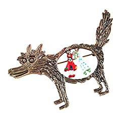 Imported Funky Little Red Riding Hood Fairy Tale Cartoon Wolf Theme Party Brooch Pin