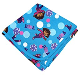 SheetWorld Flannel Receiving Blanket - Dora Blue - Made In USA