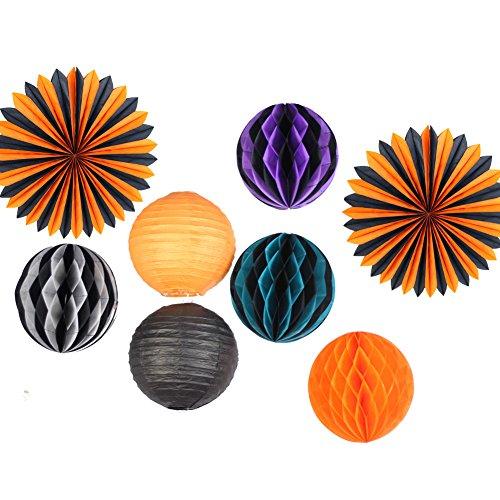 SUNBEAUTY Pack of 8 Black Orange Tissue Paper Fans Honeycomb Balls Halloween Decorations Party Hanging Paper (Black And Orange Party Decorations)