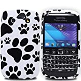 Cooltechstuff Black/White Soft Silicone Gel Case Cover/Foot Print Paws For Blackberry Bold 9790