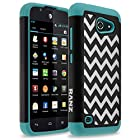 Huawei Fusion 3 Case, RANZ® Wave Pattern Print Desgin Impact Dual Layer Shockproof Bumper Hard Case Cover For Huawei Tribute Y536A1/ Fusion 3 (TEAL)