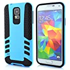Meaci® Cellphone Case for Samsung Galaxy I9600 S5 Soft Cover/case 2 in 1 Combo Hybrid Defender High Impact Body Armorbox Hard Pc&silicone Protective Bumper (Sky Blue)