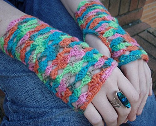 Fingerless Crochet Gloves, rainbow sherbet handmade lace