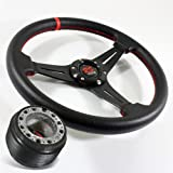 87-90 Nissan Pulsar NX 320mm Drifting Style Steering Wheel Black/Red Stitch PVC Leather w/ Hub Boss Adapter Kit