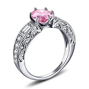 Caperci Sterling Silver 2.0CT Vintage Estate Created Pink Sapphire Engagement Ring Size 6 by Caperci Jewellers