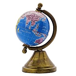 EnticeSelections Antique Handicrafted Big Desktop Rotating Globe Earth Geography World Globes Ocean Table Décor 2 Inch