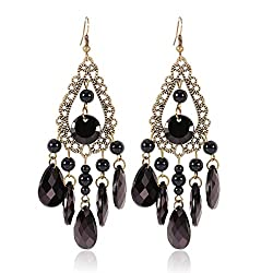 Sorella'z Black Stoned Bronze Earrings for Women's